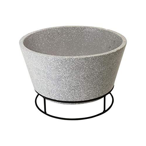 Esschert Design Feuerschale in Betonlook, aus Ton, mit Eisengestell, Ø 47 x 29,3 cm, Stabiler Stand, Grillschale,