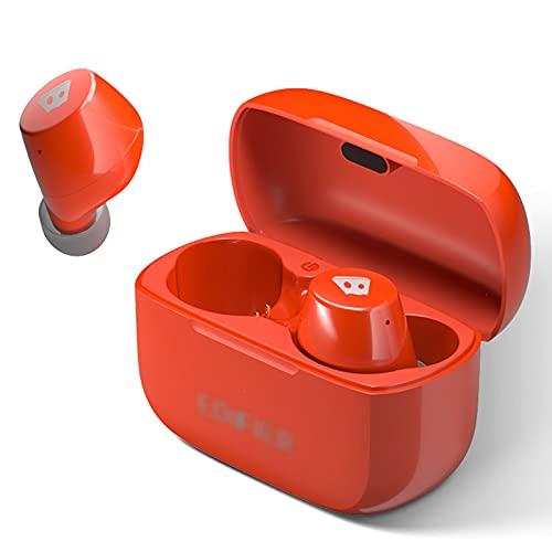 HJFGIRL Auriculares Bluetooth 5.0, Cancelación Activa de Ruido, Mini Auriculares Inalambricos con 4 Micrófonos, Qualcomm Chip QCC3020, 22 Horas de Reproducción, IPX5 Waterproof,Orange