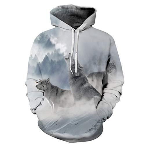 x8jdieu3 Liebhaber tragen 3D Wolf Digitaldruck mit Kapuze Baseballuniform Herbst und Winter Kleidung Männer und Frauen Modelle mit Kapuze Sweatshirt Mantel Shirt
