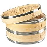KYONANO Dampfgarer Bambus, 2 Etagen Bambusdämpfer 24cm mit Deckel + 2 Baumwolltücher, Bambus Dampfkorb Dämpfaufsatz mit Edelstahlstreifenbildung für Reis, Dim Sum, Gemüse, Fleisch