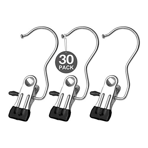 KEAEF Boot Hanger for Closet, Laundry Hooks with Clips, Boot Holder, Hanging Clips, Portable Multifunctional Hangers Space Saving for Jeans, Hats, Tall Boots, Towels, 30 Pack(Black)