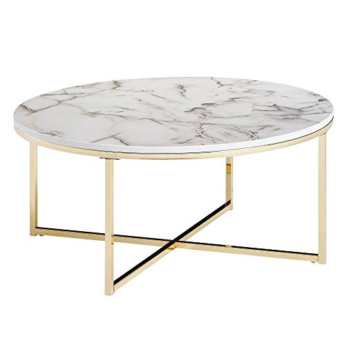 FineBuy Tavolino Salotto Aspetto del Marmo Tavolo da Soggiorno 80x80x36 cm Bianco Oro | Tavolinetto Rotondo Moderno | Tavolino da caffè