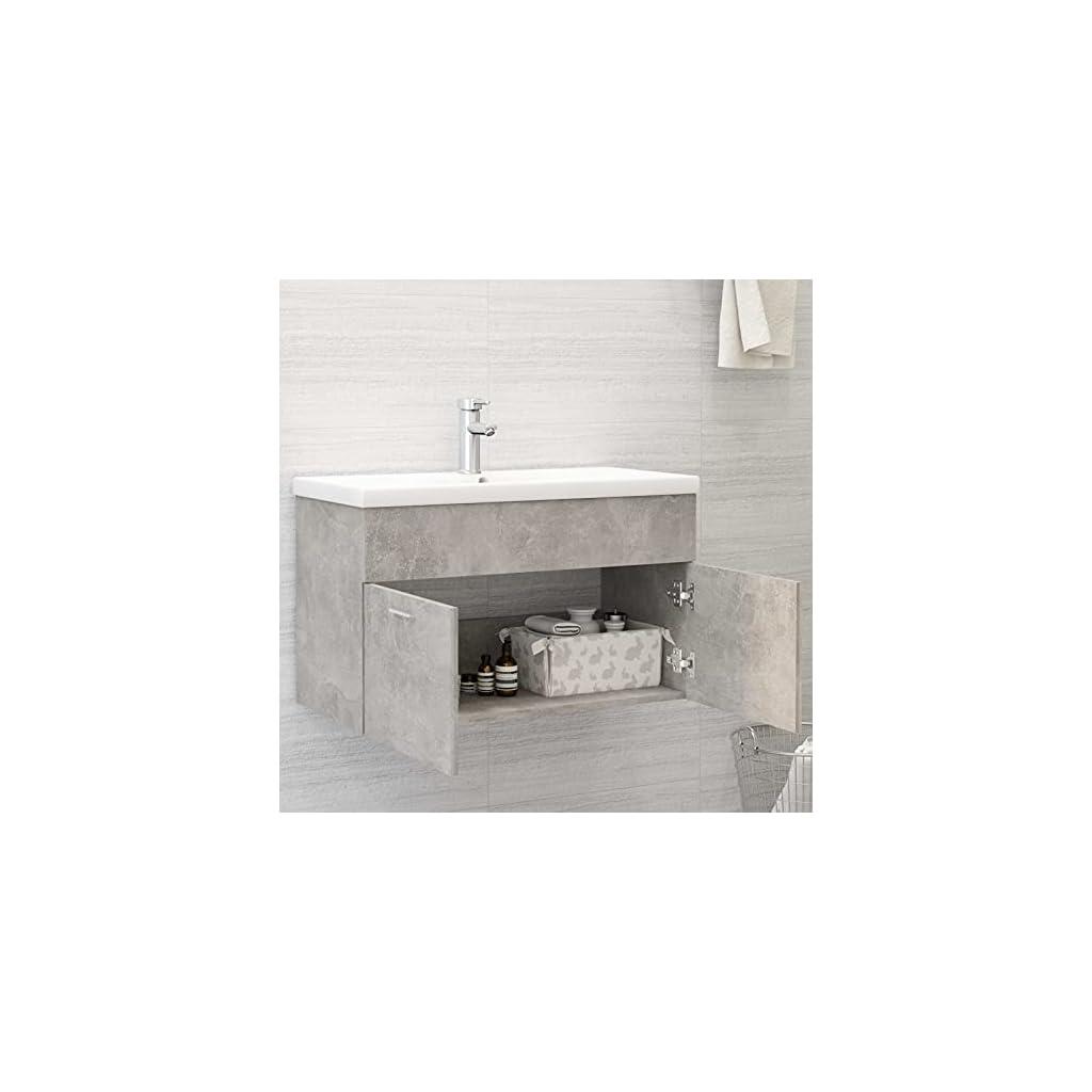 Tidyard Armoire d'évier Meuble Salle de Bain avec Vasque, Armoire de Rangement de Salle de Bain Gris béton 80×38,5×46 cm…