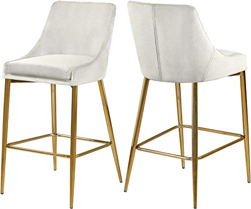 Meridian Furniture Karina Collection Modern | Contemporary Velvet Upholstered Counter Stool with Polished Gold Metal Legs and Foot Rest, Set of 2, Cream