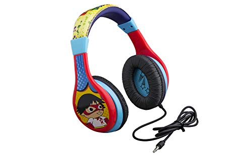 Ryans World Kids Headphones, Adjustable Headband, Stereo Sound, 3.5Mm Jack, Wired Headphones for Kids, Tangle-Free, Volume Control, Foldable, Childrens Headphones Over Ear for School Home, Travel