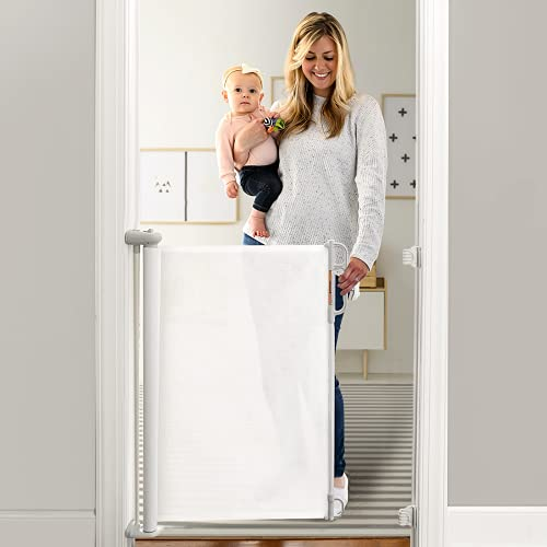Momcozy Retractable Baby Gate, 33' Tall, Extends up to 51' Wide, Child Safety Baby Gates for Stairs, Doorways, Hallways, Indoor, Outdoor (White)