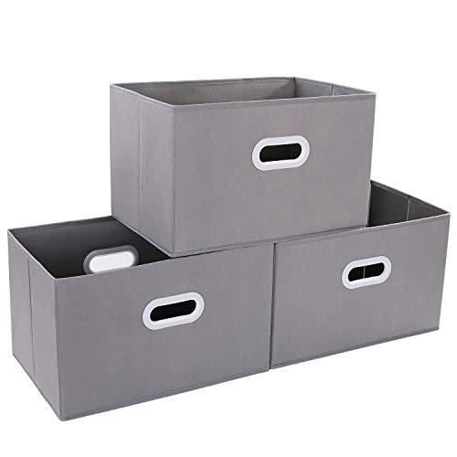 DIMJ 3 Stück Aufbewahrungsboxen, Faltbare Aufbewahrungskisten mit Griff, Groß Faltbox für Schränke, Kleidung, Bücher, Kosmetika, Spielzeug usw. (Grau)