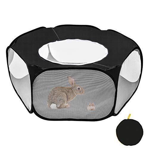 Furpaw Jaulas para Animales Pequeños, Portátil Jaula Hamster Transpirable Transparente Jaula Cobaya en Negro Plegable