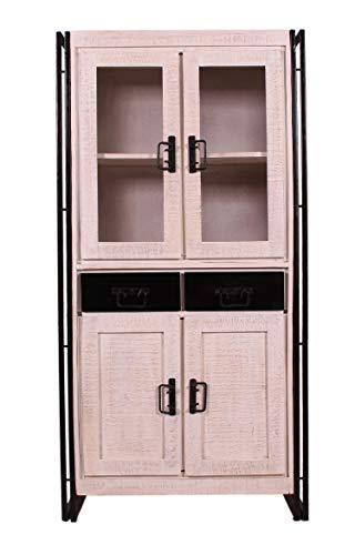 Sit Möbel 0730410 Küchen-Vitrine Vintage Gebrauchsspuren weißes Mangoholz antik-schwarzer Altmetallrand