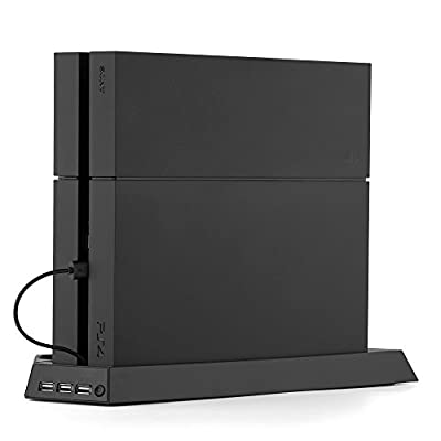 TNP PS4 (Original) Stand + Controller Charger + Cooling Fan + USB Hub - Vertical Dock Charging Station for DualShock Controller, External Cooler Fan, 3 USB Port Hub 4-in-1 Accessories [Playstation 4]