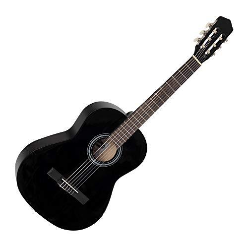 Calida Benita 7/8 Konzertgitarre Schwarz (Akustikgitarre mit 18 Bünden, geeignet für Kinder im Alter von 11-13 Jahren, Bundmarkierung, Nylonsaiten, 955mm Gesamtlänge)