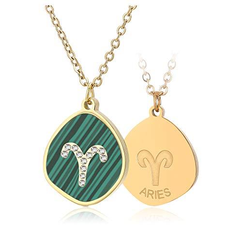 Qings 12 Constelacion Collar Acero Inoxidable Mujer con Colgante Horoscopo Zodiaco Collar Turquesa Personalizables Regalo para Mujeres y Niñas