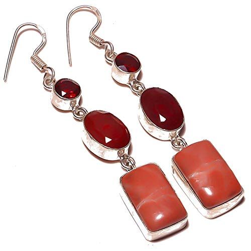Red Coral, Garnet Quartz Multi-Stone Handmade EARRING 2.5' Long Silver Plated! Jewelry from Kashish! All Variety Store all Occasions
