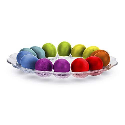 Edwanex Eierteller für 14 Osterteller Ø 30 cm Eier Eierplatte Glas Servierplatte Platte Teller Ostern Osterdeko Eiertablett Eierbecher Durchsichtig