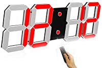 壁掛け時計 デジタル 大型 くり抜く3D led wall clock 時計 LEDデジタル 目覚まし時計 時計 壁掛け 置き時計 置時計 おしゃれ 多機能 明るさ調整 スヌーズ アラーム 12H/24H時間表示 立体 (Color : Red(A))