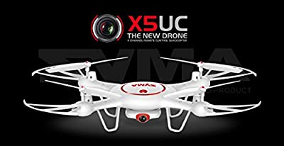 Syma X5UC Drone 4CH 2.4G Remote Control Quadcopter 6-Axis Gyro RC Headless Quad Copter HD 2.0MP Camera Set Height UFO Helicopter with Newest One Key Take-off/Landing Function White by WayIn®