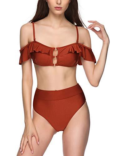 Verano Playa Damen-Badeanzug mit Rüschen, zweiteilig, schulterfrei, Bandeau-Bikini-Set - Braun - X-Large