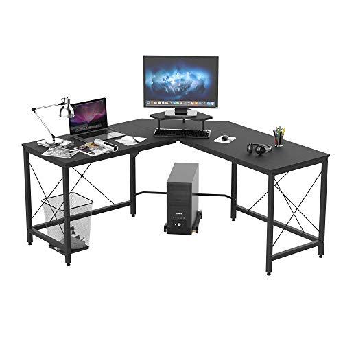 HOMCOM Computertisch, L-förmiger Eckschreibtisch, Schreibtisch, Bürotisch, MDF+Metall, Schwarz, 150 x 150 x 76 cm