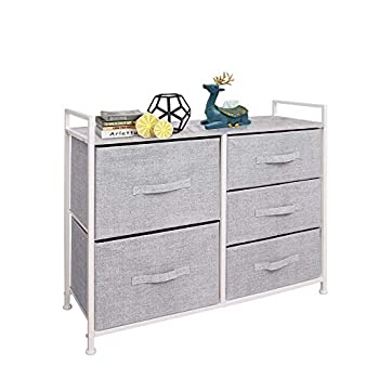 East Loft Storage Cube Dresser Organizer for Closet Nursery Bathroom Laundry or Bedroom 5 Fabric Drawers Solid Wood Top Durable Steel Frame Light Grey