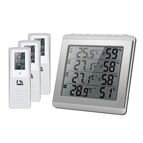 Draadloze LCD digitale thermometer hygrometer, indoor outdoor vierkanaals °C / °F temperatuur vochtigheidsmeter met 3 afstandssensoren alarm voor airconditioning ziekenhuis laboratorium hotelkantoor