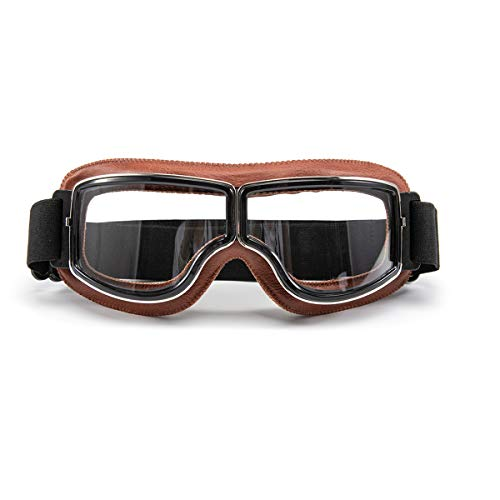 evomosa Motorradbrille Motorräder Retro Pilot Nebelsichere Brille ATV Bike Motocross Brille Schutzbrille - Transparente Linse