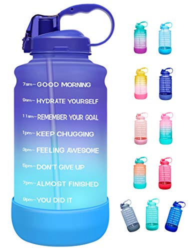 Elvira Half Gallon/64oz Motivational Time Marker Water Bottle with Straw & Protective Silicone Boot, BPA Free Anti-slip Leakproof for Fitness, Gym and Outdoor Sports-Purple/Green