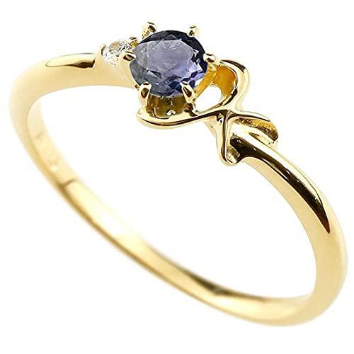 [アトラス]Atrus 指輪 レディース 10金 イエローゴールドk10 アイオライト ダイヤモンド イニシャル ネーム K ピンキーリング 華奢 アルファベット 26号