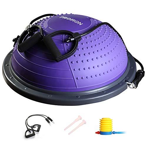 PROIRON バランスドーム バランスボール 半球 バランスボード 耐荷重300kg 長さ60X幅60X高さ23�p 重量5kg 3色 レジスタンスバンド付き 空気入れ付き (紫)