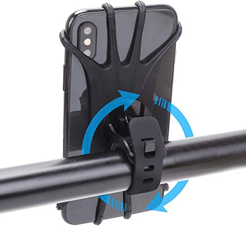 Bike Phone Mount,360°Rotation Silicone Bicycle Phone Holder for Cycling GPS/Map, Universal Bike and Motorcycle Handlebar Mount Fits for iPhone XR, XS Max/8/8 Plus, 7, 6/6s Plus