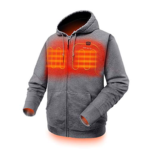 ORORO Heated Hoodie with Battery Pack (X-Large,Light Gray)