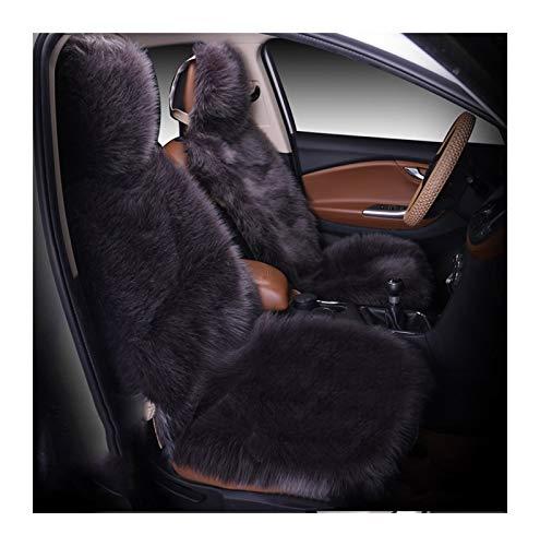 Cojines sillas jardin El invierno caliente asiento de coche cubierta de lujo de lana larga delantera cubierta del asiento 1 pieza negro Almohadilla de lana artificial ( Color Name : White 2 pieces )