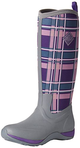 Muck Boot Arctic Adventure Print, Damen Stiefel, Gray/Acai Purple Plaid, M US