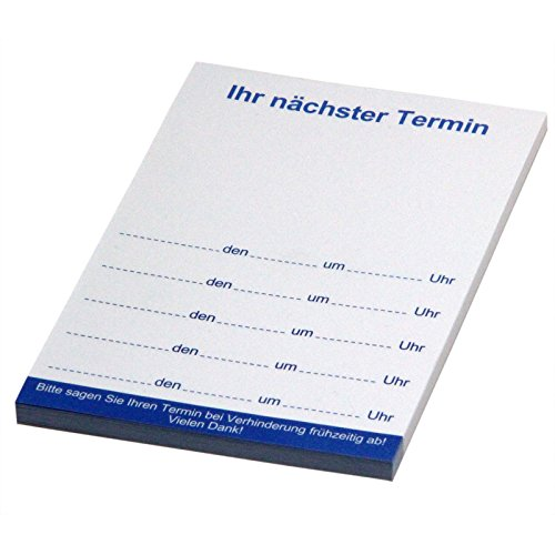 10 Stück blaue Terminblöcke nächster Termin/Terminkarten 74x105 mm, Terminzettel, Terminblock 40 Blatt