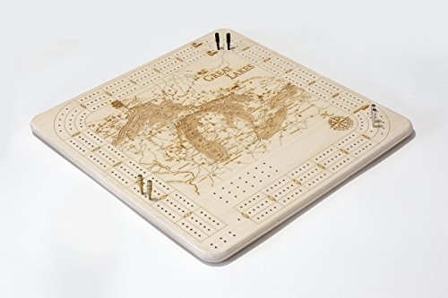 Photo of natural wood colored Great Lakes Cribbage Board By Woodchart