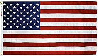 Reinforced Polyester American Flag, Various Sizes, 100% Made in The USA, Reinforced Stitching, Embroidered Stars, Color Match Lock Stitching, Available (3' x 5')