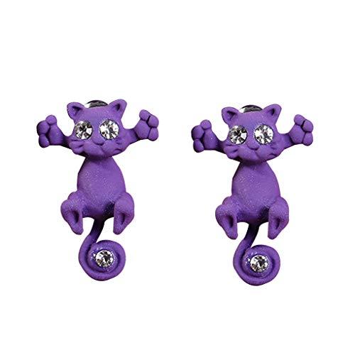 Bobury 1 par de aretes de Gato aretes de Gatito Animal aretes de Mujer de Dibujos Animados Retro