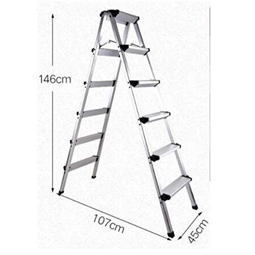 Escalera de Aluminio, Escalera Plegable hogar espesó Escalera de la Palabra, la Pesca a pequeña Escala de (Color : Silver, Size : 6steps): Amazon.es: Hogar