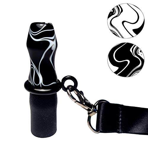 KAISER - Boquilla Higiénica MARBLE de Resina Personal para Cachimba/Shisha - Accesorio profesional de resina reutilizable para hookah (Negra con vetas blancas) + CINTA de Colgar (Negro)