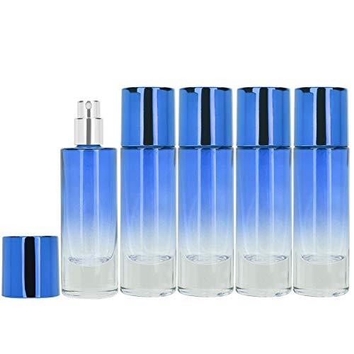 Botella de spray, botella de spray de perfume de vidrio de 5 piezas, portátil duradero de 30 ml, conveniente para almacenar perfumes, viajes, vacaciones, regalos para mujeres(blue)