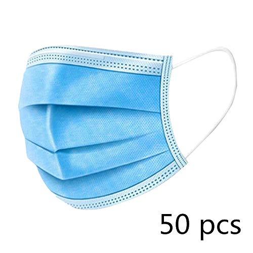 KETONG 50 Stück Einweg-Profi-Schutzfilter 3-lagig Vlies-Gesichtsabdeckung Staubfilter Sicherheit Atemfilter 50 Stück