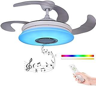 Moderno Ventilador de techo con luz con Mando a distancia con altavoz Bluetooth, HOREVO 36W Lámpara de techo teléfono aplicación, LED RGB Cambio de Color, ideal Para Salon, Dormitorio Fiesta AC220V