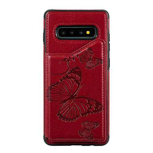 Bear Village Coque Galaxy S10 Plus, Anti Rayures Étui à Rabat, Portefeuille Housse en PU Cuir Compatible avec Samsung Galaxy S10 Plus, Coque Arrière en Relief, Rouge