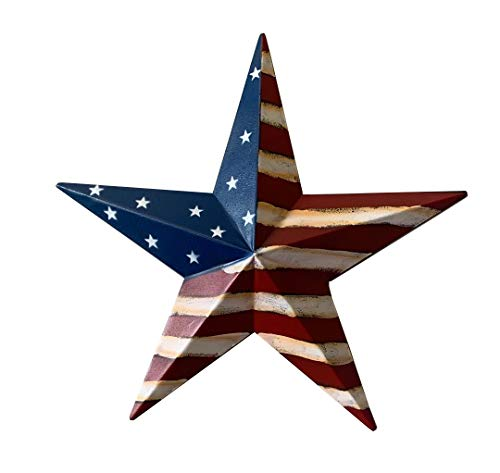 Rustic Metal 3D Barn Star Patriotic Wall Decor American Flag Wall Star July 4th Country Americana Patriotic Wall Ornament,Outdoor Decoration 12 Inches