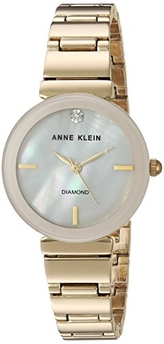Anne Klein AK/2434PMGB Reloj de pulsera dorado con detalles de diamante para mujer
