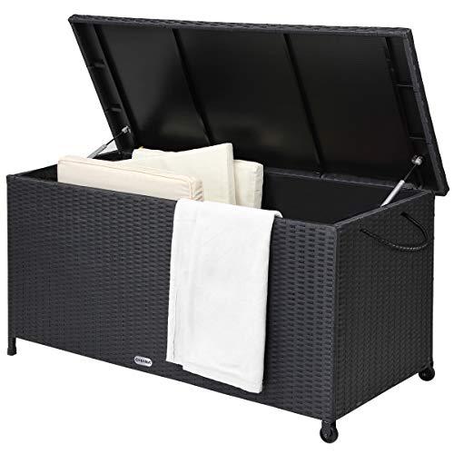 Deuba Casaria Auflagenbox 122x56x61 cm Poly Rattan Wasserdicht Rollbar 2 Gasdruckfedern Kissen Garten Box Truhe schwarz