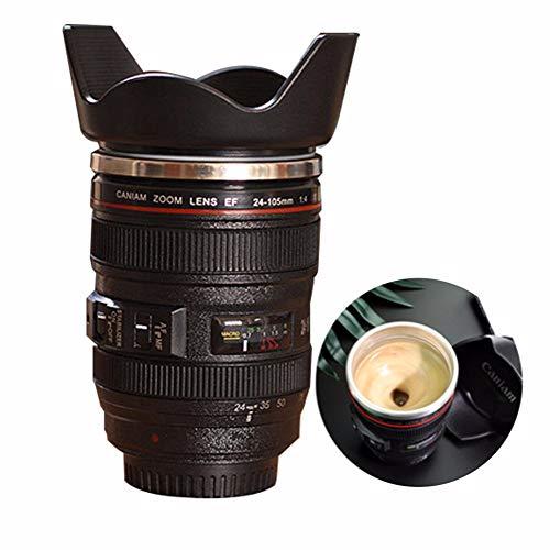 ZGNB Lente de la Cámara Tazas de Café, Taza para Lente de Cámara Taza de Café Taza Aislada de Acero Inoxidable Forro con Tapa Taza en Forma de Objetivo para un Amante de la Fotografía