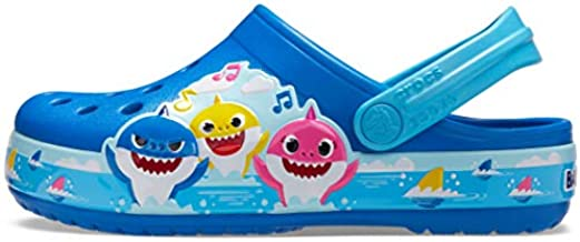 Crocs Kids' Baby Shark Band Clog , Bright Cobalt, 13 Little Kid