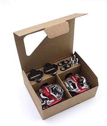 Pedal de Bicicletas, Bicicletas de montaña de Auto-Bloqueo de aleación de Aluminio con un Deslizamiento del cojinete for Bicicleta Plegable, Racing - Accesorios de Bicicletas (Color : Red)
