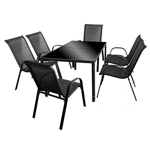 Wohaga 7tlg. Gartengarnitur Glastisch 150x90cm Schwarz + 6 Stapelstühle mit Textilenbespannung Schwarz Metall Gartenstühle Gartentisch Sitzgruppe