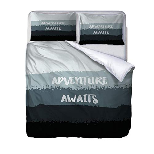 UWKDEK Super Double Duvet Cover Set Grey letters Quilt Cover Bedding SetWithHidden Zipper Microfiber Bedding Quilt CoverWith 2 Pillowcases for A Family Kids Teens Adults,260cmWx220cmH